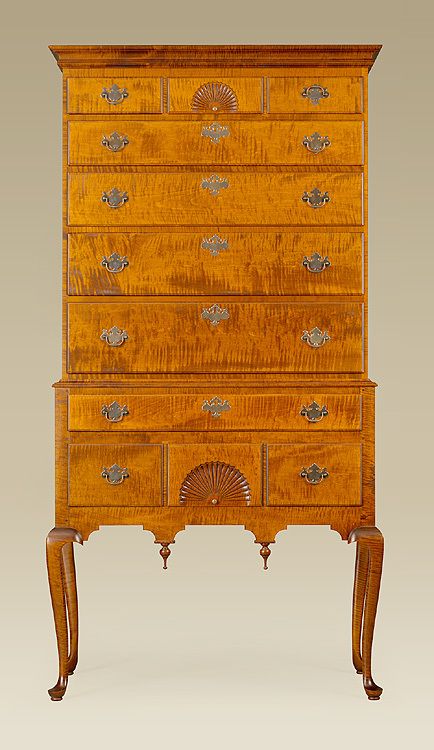 Queen Anne Flat Top Highboy Image