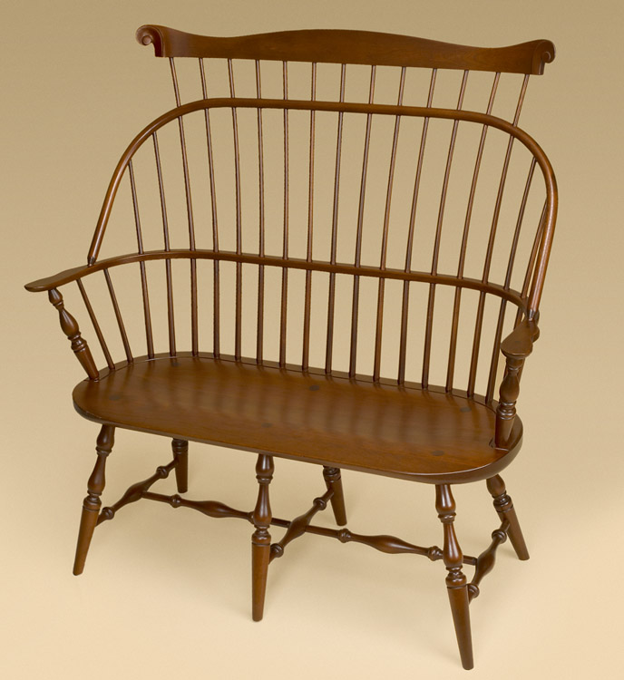 Cherry Sack-Back Windsor Settee with Comb Image