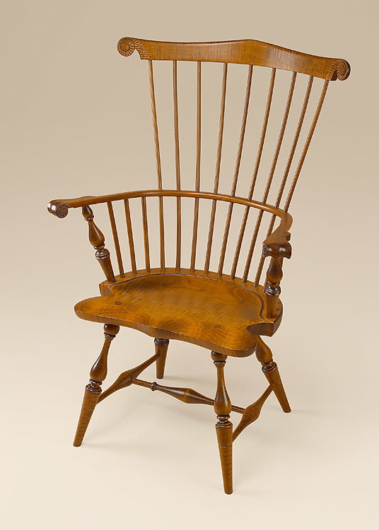 Tiger Maple Fan-Back Windsor Armchair Image