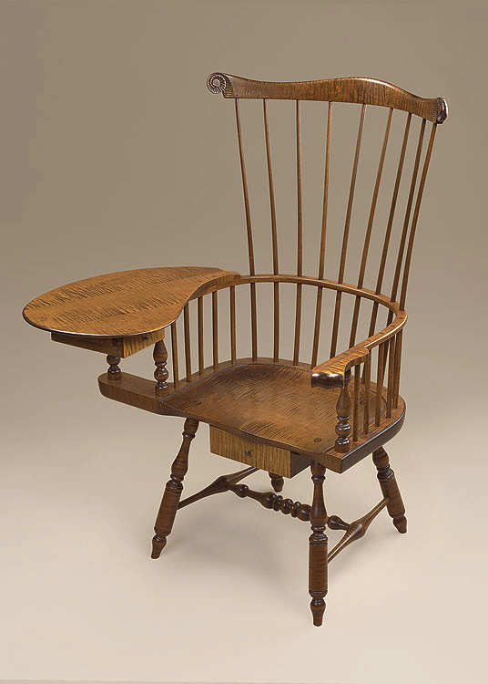 Historical Tiger Maple Windsor Writing Armchair Image