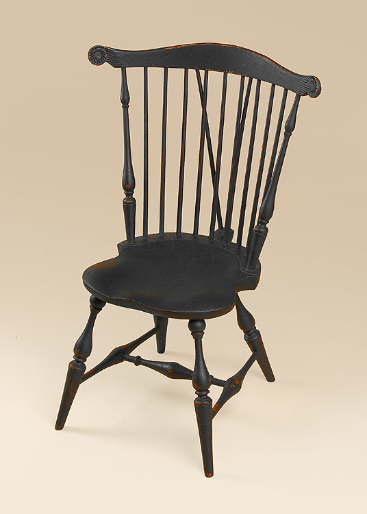 Beautiful Historical Nine Spindle Fan Back Windsor Side Chair With Brace Image