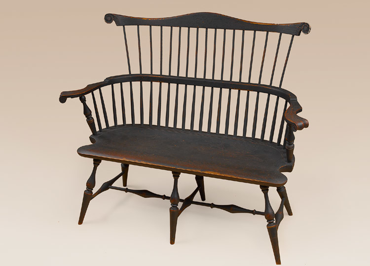 Historical Fan-Back Windsor Settee with Carved Knuckles Image