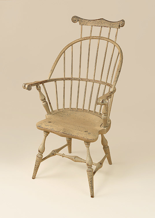 Historical New England Bow-Back Windsor Armchair with Comb Image