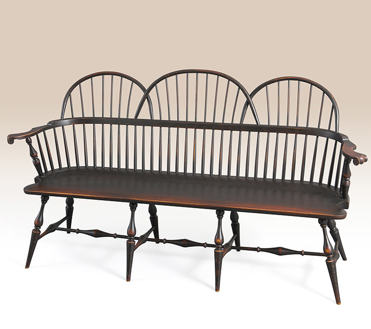Historical Philadelphia Triple Sack-Back Windsor Settee Image