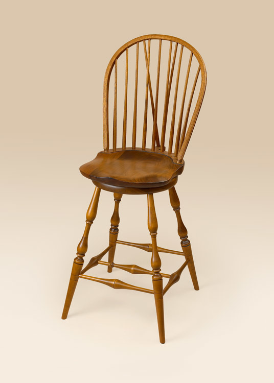 Historical Swivel Bow-Back Windsor Stool with Brace Image
