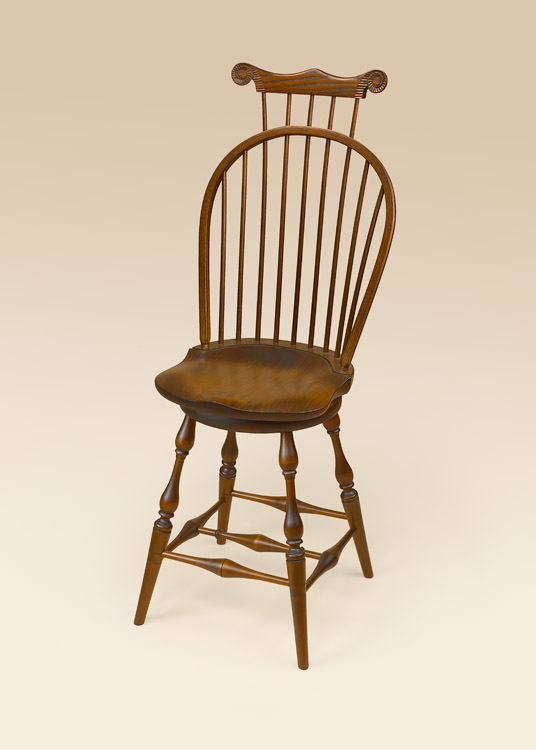 Historical Swivel Bow-Back Windsor Stool with Comb Image