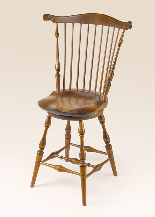 Historical Tiger Maple Swivel Fan-Back Stool Image