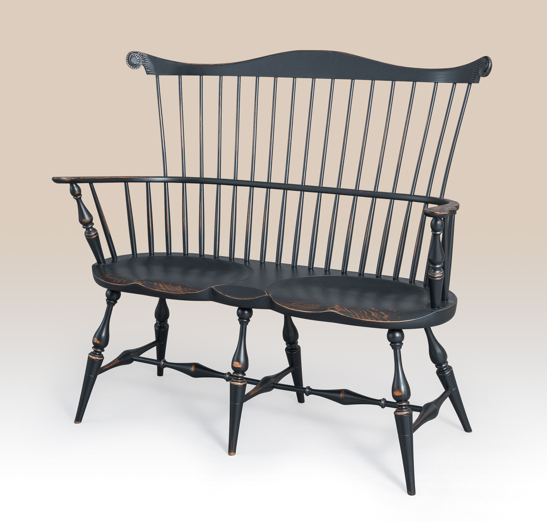 Queen anne chair history - Historical New York Windsor Settee Image