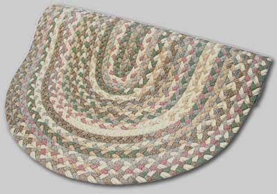 Beacon Hill Braided Rug - Tans with Green and Mauve Accents - Number 35 Image