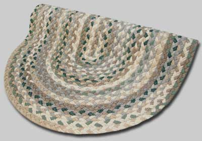 Beacon Hill Braided Rug - Greens and Beige Plaid Mix - Number 44 Image