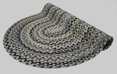 Beacon Hill Braided Rug - Blue Tones with Mix of Cranberry, Gray and Tan - Number 5 Image