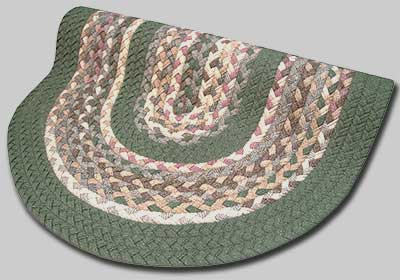 Minuteman Braided Rug - Tan, Sage and Mauve with Sage Green Solid Bands - Number 59 Image