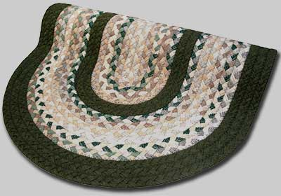 Minuteman Braided Rug - Green and Beige Plaid Mix with Olive Green Solid Bands - Number 61 Image
