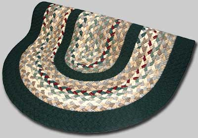 Minuteman Braided Rug - Beige Tones with Green and Burgundy Accents with Dark Green Solid Bands - Number 68 Image