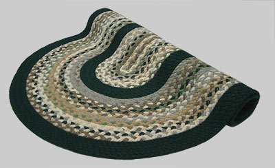 Minuteman Braided Rug - Berber Beige and Gray Mix with Tan and Green Tones with Dark Green Solid Bands - Number 7 Image