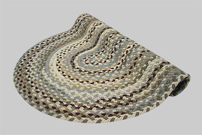 Beacon Hill Braided Rug - Berber Tan and Gray Mix with Cranberry - Number 8 Image