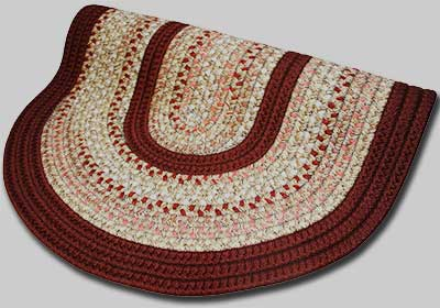 Pioneer Valley II Braided Rug - Buckskin with Burgundy Solids - Number 84 Image