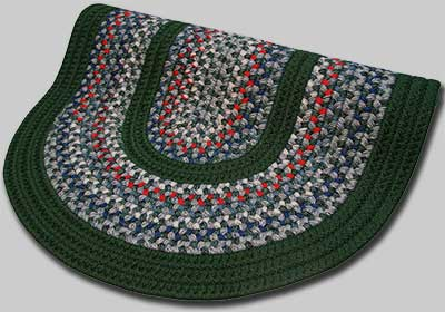 Pioneer Valley II Braided Rug - Caribbean Blue with Dark Green Solids - Number 86 Image