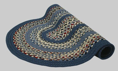 Minuteman Braided Rug - Blue, Red, Gray Multi with Light and Dark Blue Solids Bands - Number # 9 Image