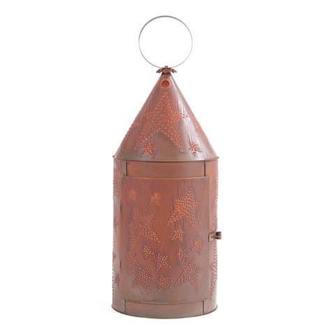36in Tinners Lantern with Star in Rustic Tin Image