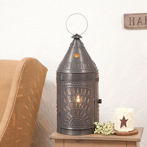 Blacksmith's Lantern with Chisel Design in Blackened Tin Image