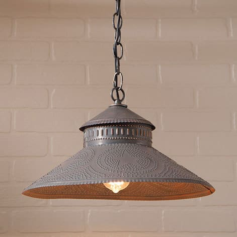 Shopkeeper Pendant Light with Star Design in Blackened Tin Image