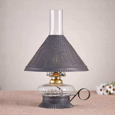 Cupid Oil Lamp with Willow Shade in Blackened Tin Image