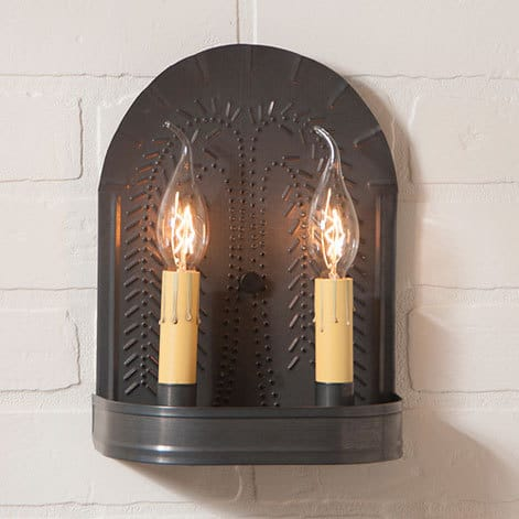 Double Sconce with Willow in Blackened Tin Image