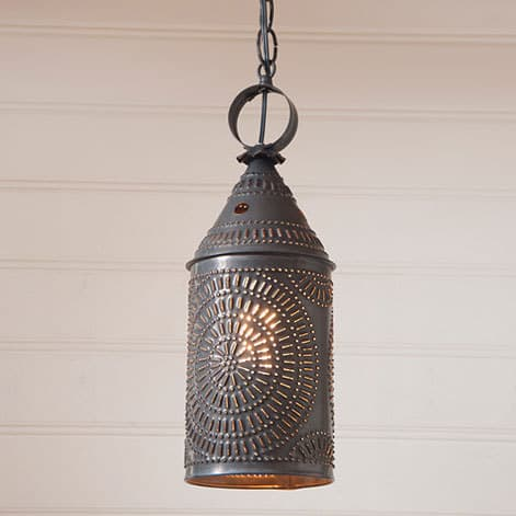 Hanging Lantern in Blackened Tin Image