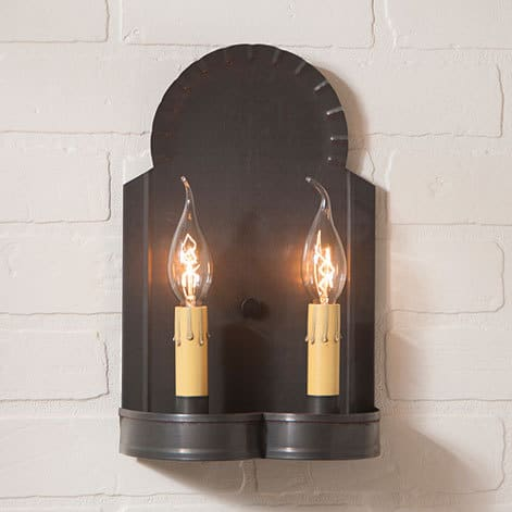 Hanover Double Wall Sconce in Blackened Tin Image