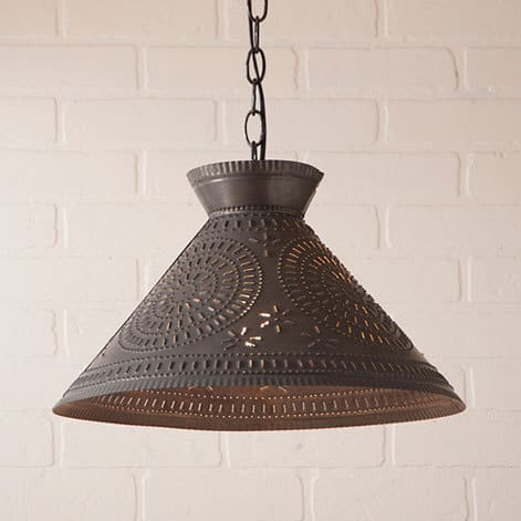 Roosevelt Pendant Light with Chisel Design in Blackened Tin Image