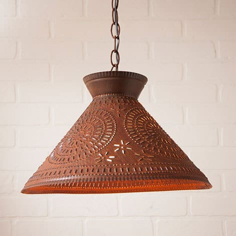 Roosevelt Pendant Light with Chisel Design in Rustic Tin Image