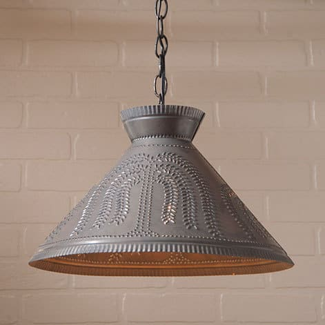 Roosevelt Pendant Light with Willow Design in Blackened Tin Image
