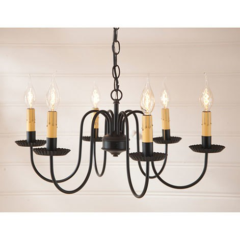 Sheraton Six Arm Chandelier in Black Image