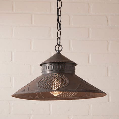 Shopkeeper Pendant Light with Chisel Design in Blackened Tin Image