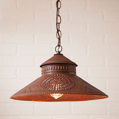 Shopkeeper Pendant Light with Chisel Design in Rustic Tin Image