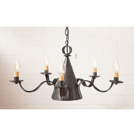 Small Sturbridge Chandelier in Blackened Tin Image