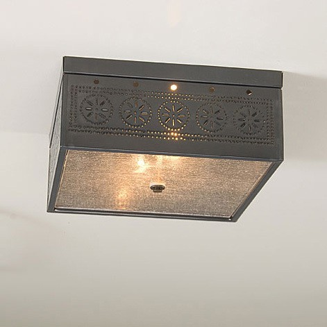 Square Ceiling Light with Chisel in Four Finishes Image
