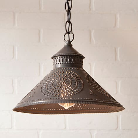 Stockbridge Pendant Light with Chisel Design in Blackened Tin Image