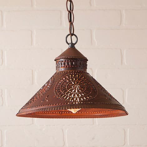 Stockbridge Pendant Light with Chisel Design in Rustic Tin Image