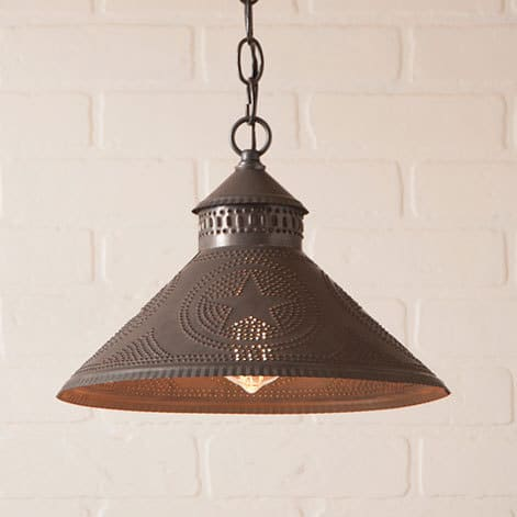 Stockbridge Pendant Light with Star in Blackened Tin Image