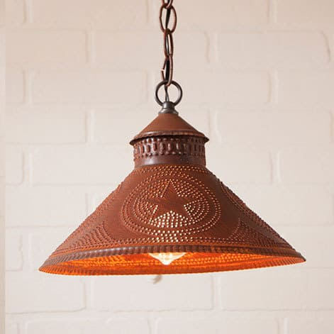 Stockbridge Pendant Light with Star in Rustic Tin Image