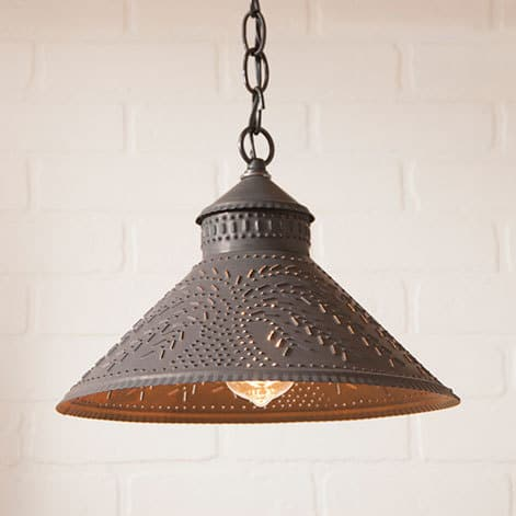 Stockbridge Pendant Light with Willow in Blackened Tin Image
