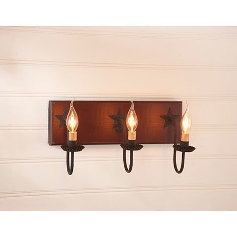 Three Arm Vanity Light with Stars in Sturbridge Red Image