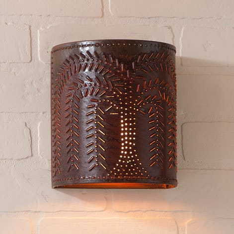 Willow Sconce Light in Rustic Tin Image