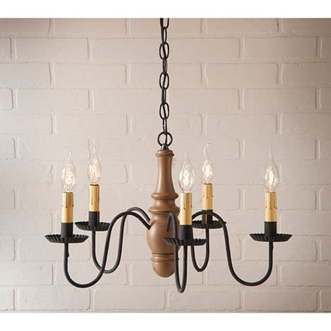 Lynchburg Wooden Chandelier in Sturbridge Mustard Image