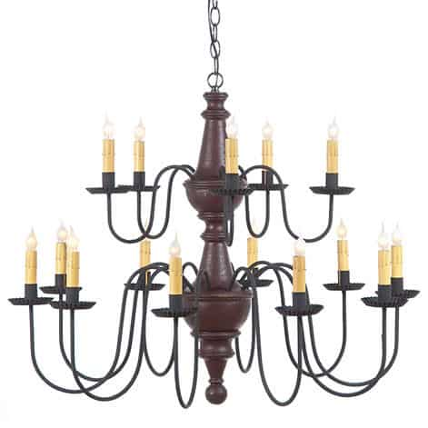 Two Tier Wooden Harrison Chandelier in Americana Plantation Red Image