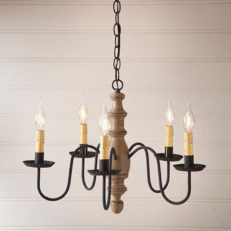 Country Inn Wooden Chandelier in Americana Pearwood Image