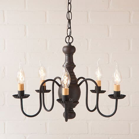 Lancaster Wooden Chandelier in Americana Black Image