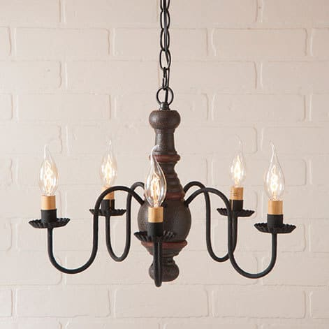 Lancaster Wooden Chandelier in Americana Espresso with Salem Brick Stripe Image